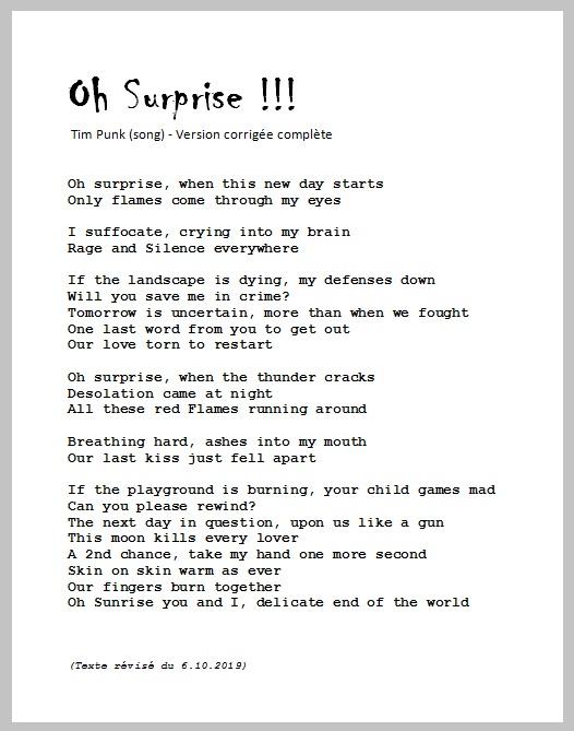Oh Surprise - Tim Punk song - texte révisé du 6.10.2019 (scan)